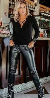 cutie in black faux leather leggings