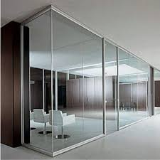 glass partition wall in aluminium frame