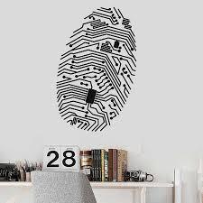 Creative Fingerprint Wall Decal Chip Computer Geek Security It Vinyl Window Stickers High Tech Room Interior Decor Mural M284 Wall Stickers Aliexpress