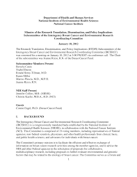 Interagency Breast Cancer and Environmental Research Coordinating Committee  - Meeting Minutes - January 10, 2012