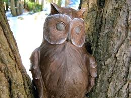 stone carving owl outdoor garden decor