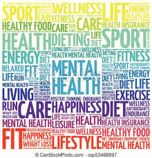 Mental health word cloud collage, health concept background.