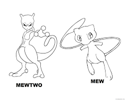 Pokemon Coloring Pages Mewtwo And Mew