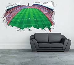 Emirates Stadium London Arsenal Wall Decal Smashed 3d Sticker Vinyl Decor Mural Football Broken Wall 3d Designs Op142 Large Wide 40 X 24 Height Wantitall