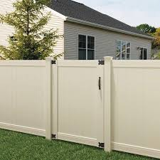 Outdoor Essentials Pro Series 6 Ft H X 4 Ft W Tan Vinyl Flat Top Fence Gate In The Vinyl Fence Gates Department At Lowes Com