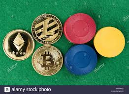 Gold physical Bitcoin, Litecoin and Ethereum coins with casino ...