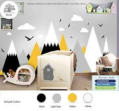Amazon Com Black Yellow Mountains Wall Decal For Nursery Kid Room High Quality Removable Sticker Eagles Pine Trees Clouds Adventure Decal D576 Handmade