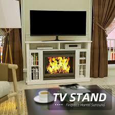 fireplace mantel surround tv stand unit