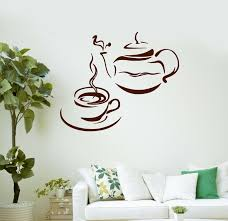 Vinyl Wall Decal Tea Set Kitchen Coffee Cafe Teatime Stickers Art Mural Ig648 For Sale Online