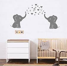 Amazon Com Aliqing Lovely Elephant Vinyl Wall Decal With Hearts And Music Symbols Wall Stickers For Baby Kids Room Decoration Color Grey Arts Crafts Sewing