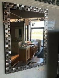 silver mosaic tile framed mirror large