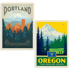 Portland Oregon City Of Roses Vinyl Decal Set Of 2 At Retro Planet