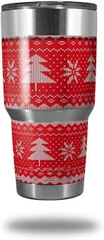 Amazon Com Skin Decal Wrap For Yeti Tumbler Rambler 30 Oz Ugly Holiday Christmas Sweater Christmas Trees Red 01 Tumbler Not Included Everything Else