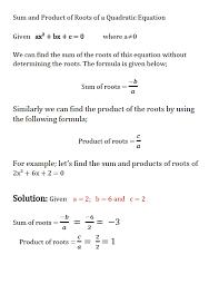 sum of quadratic equation roots