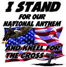 Amazon Com I Stand For Our National Anthem And Kneel For The Cross Version 2 5 Decal Automotive