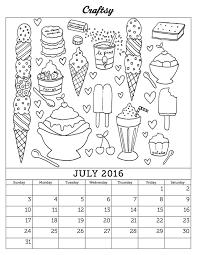 July 2016 Free Coloring Page Calendar Kleuren