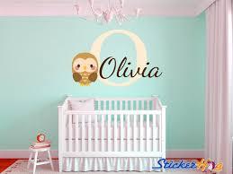 Baby Owl Name Monogram Boys And Girls Nursery Room Vinyl Wall Decals