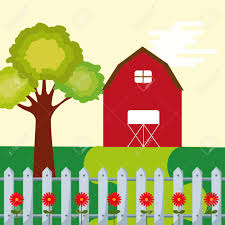 Farm Barn Leafy Tree And Fence Flowers Garden Vector Illustration Royalty Free Cliparts Vectors And Stock Illustration Image 99750005