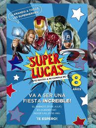 20 Avengers Vengadores Invitacion Infantil Cumpleanos Comic