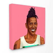 The Stupell Home Decor Collection Hipstory Hipster Barack Obama Canvas Wall Art Walmart Com Walmart Com