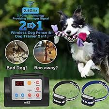 Wiez Dog Fence Wireless And Training Collar Outdoor 2 In 1 Electric Wireless Fence W Remote Adjustable Range Wireless Dog Fence Dog Fence Dog Training Collar