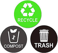 Amazon Com Recycle Sticker Trash Bin Label Compost Sign Decal 6 Pack 6 X 6 Large Waterproof Organize Coordinate Garbage Waste From Recycling For Metal Or Plastic Trash Cans