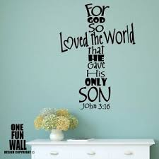 For God So Loved The World Wall Decal Sticker Religious Faith Decor Bible Quote Ebay