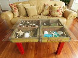 table using old wood soda crates