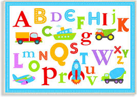 The Kids Room By Stupell Stupell Home Decor Rainbow Alphabet Transportation Icons Wall Plaque Art 10 X 0 5 X 15 Proudly Made In Usa