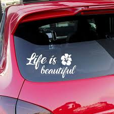 15 7 5cm Life Is Beautiful Car Auto Suv Window Decal Car Styling Inspirational Quotes Vinyl Car Wrap Sticker Car Stickers Aliexpress