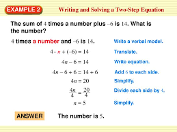 writing and solving a two step equation