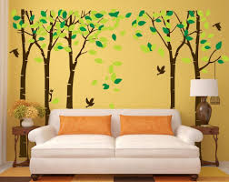 Amaonm 104x71 Giant Large Jungle 5 Trees Wall Decals Green Leaves And Fly Birds Wallpaper Wall