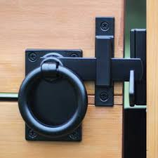 Snug Cottage Hardware Contemporary Ring Gate Latch Setback Mount With Gate Stop Black Hoover Fence Co