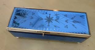 vintage etched blue glass jewelry box