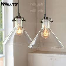 clear glass funnel pendant light