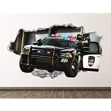 Amazon Com Police Car Wall Decal Art Decor Patrol 3d Smashed Sticker Mural Kids Room Gift Large Bl04 42 W X 24 H Home Kitchen