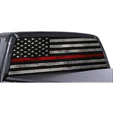 Amazon Com Fgd Brand Truck Rear Window Firefighter Thin Red Line American Flag Perforated Vinyl Decal Wrap Automotive