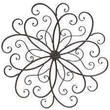 black mahogany metal scroll wall decor