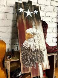 distressed wood flag bird wall art