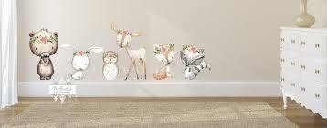 6 Deer Fox Bear Bunny Wall Decal Sticker Set Baby Boho Woodland Nurser Pink Forest Cafe