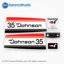 Johnson 35 Hp Decal Set Red Black Late 70 S Mercurydecals Com