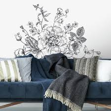 Black And White Peony Wall Decals Roommates Decor