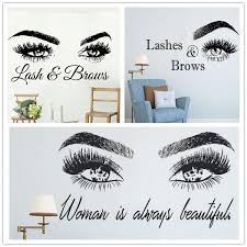 Beautiful Women Eye Brows Wall Stickers Art Home Decor Self Adhesive Wallpapers Beauty Shop Diy Mural Eyelashes Extensions Decal Wish