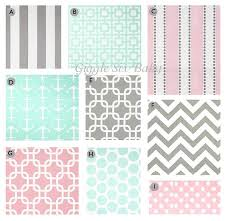 custom crib bedding grey pink and mint