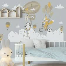Nursery Hot Air Balloon And White Home Silhouette Wall Decal Sticker In 2020 Kids Wall Decals Wall Decor Stickers Kids Wall Murals