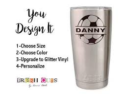 Soccer Ball Name Decal Sticker Sports Custom Yeti Cup Vinyl Yeti Cup Decal Vinyls Vinyl Decal Diy Diy Gifts For Men