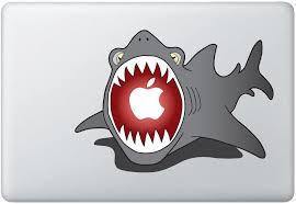 Amazon Com Shark Eating Apple Vinyl Decal Sticker Fits 11 13 Air And 13 15 Macbooks Computers Accessories