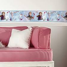 Roommates Frozen 2 Peel And Stick Wallpaper Border Removable Kids Room Decor White Blue Amazon Com