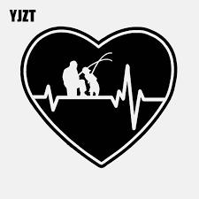 Yjzt 15cm 13 5cm Heartbeat Heart Fishing Father Dad Son Fish Rod Reel Lure Vinyl Decal Car Sticker Black Silver C24 0541 Car Stickers Aliexpress