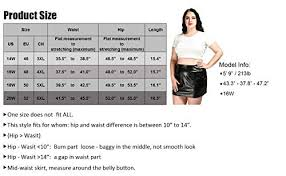 plus size pu faux leather short skirts